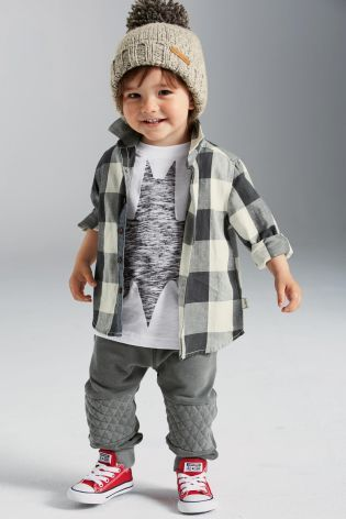 Buy Grey Check Long Sleeve Shirt (3mths-6yrs) online today at Next: United States of America