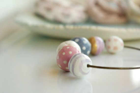 bangle bracelet hand formed and hand painted beads sweet by loliti