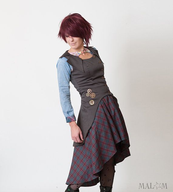 I love the cut of this jacket!  Can imagine a fitted felt tunic with a similar fit..     Sleeveless Steampunk Jacket with swallowtail   Medium by Malam, €255.00