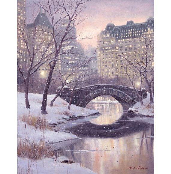 New York City, Central Park, Original Watercolor Painting Archival Print - Cityscape, Building, Winter Scene, Snow, Stone Bridge, Manhattan on Etsy, $23.02 AUD