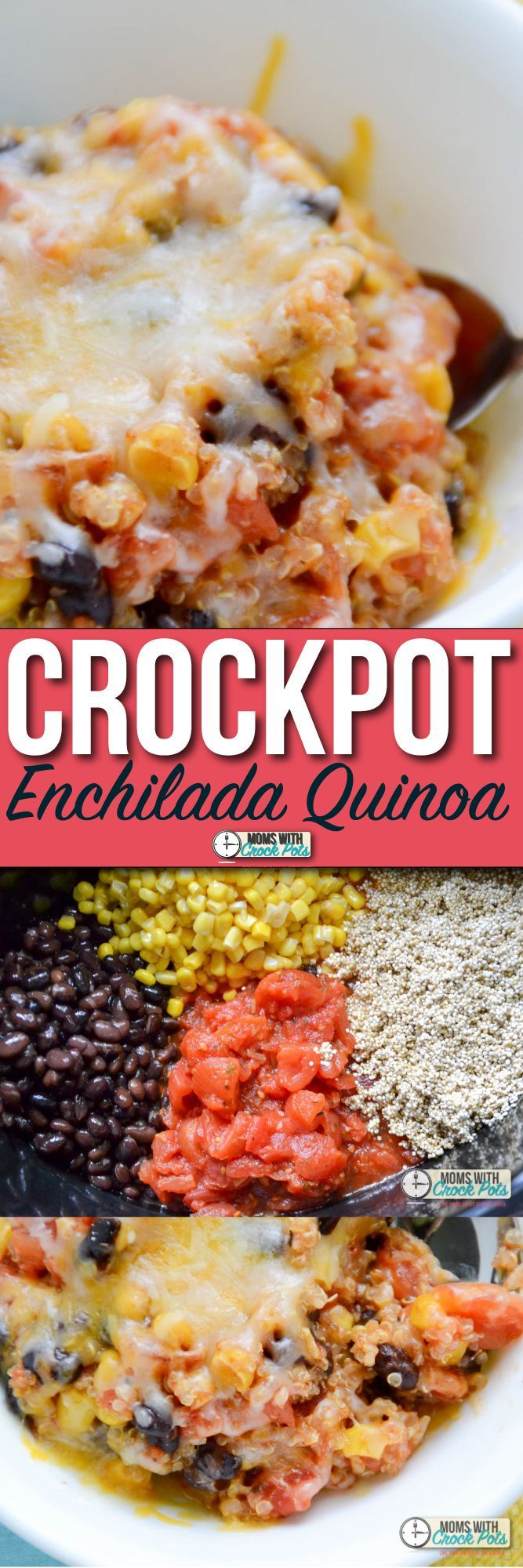 Looking for a meal for meatless monday, or just a yummy vegetarian option! Check out this simple and tasty Crockpot Enchilada Quinoa Recipe! It's a winner!