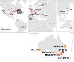 Equinix's worldwide presence, with new Australian facilities