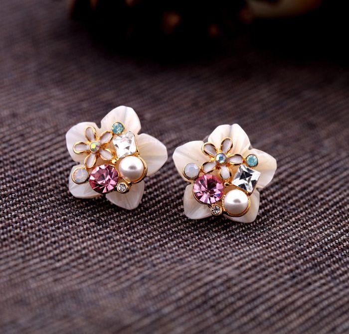 Lovely Floral Shell Stud Earrings  – New In