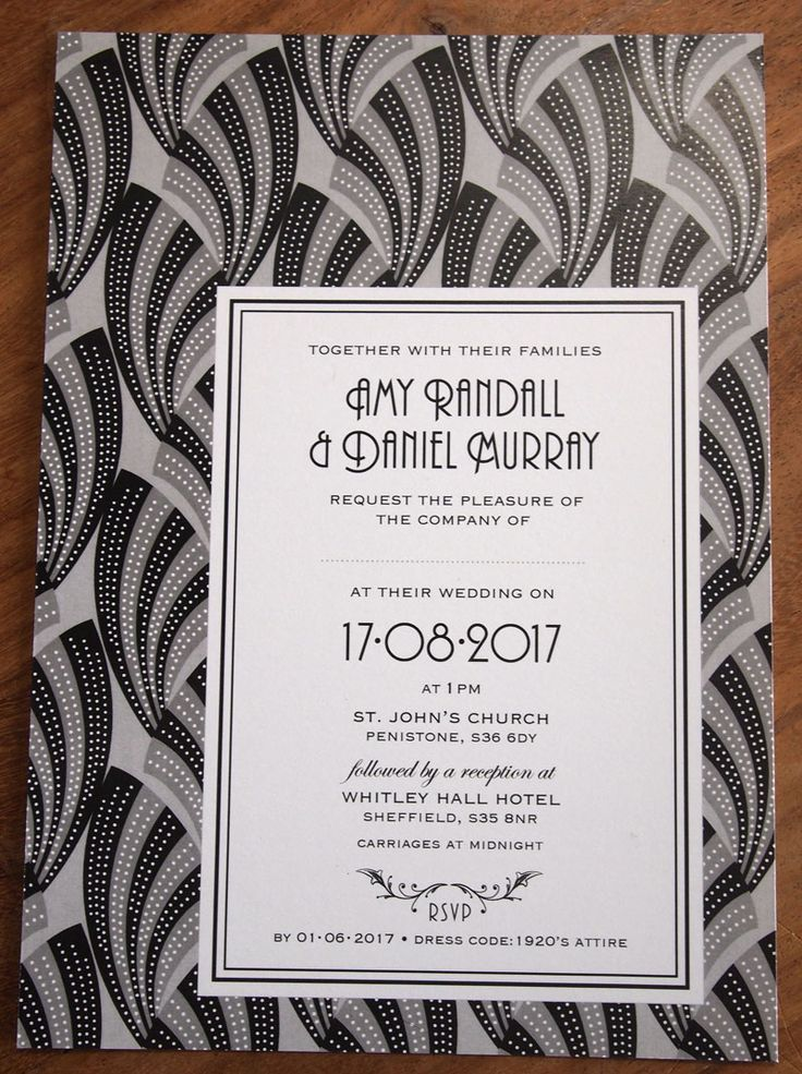 Art Deco Wedding Invitation Empire design