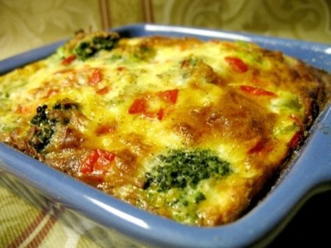This is a recipe I came up with because I love broccoli and I like to stick to 3-4 pts for breakfast when I am on Weight Watchers. This quiche and 1 low fat english muffin keep me full until lunch.
