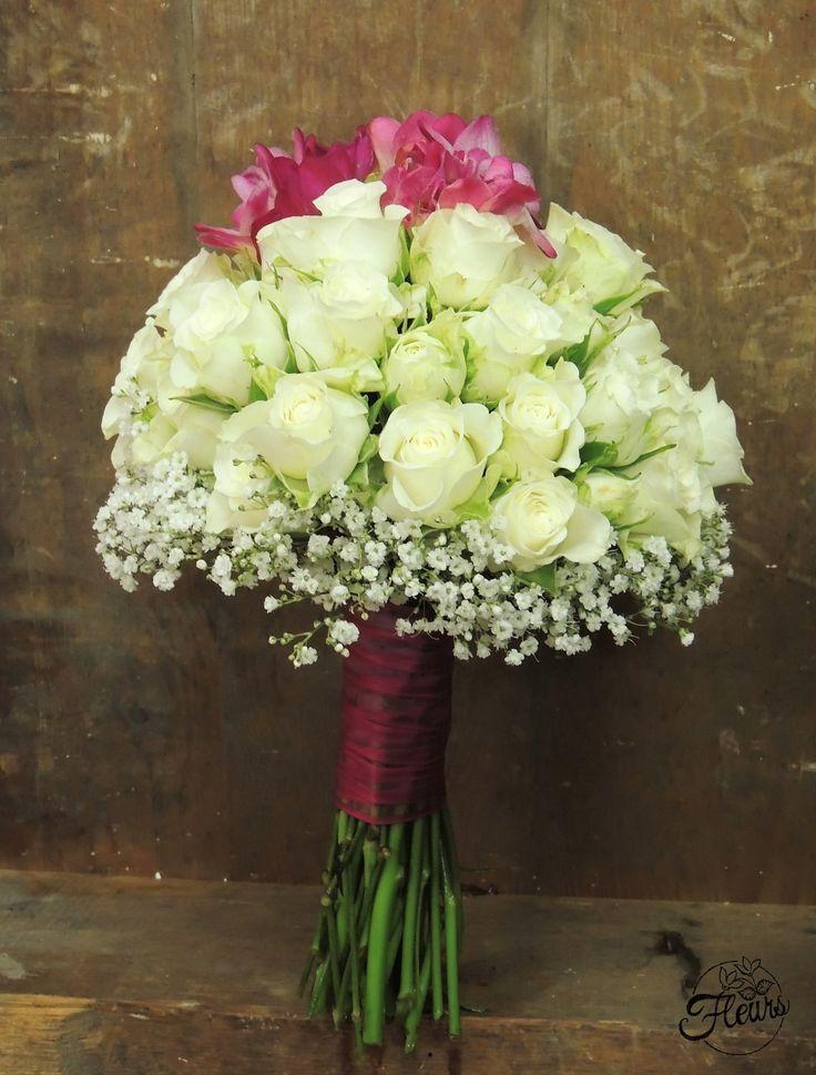 Svatební kytice růžovo-bílý styl / Květiny Fleurs #wedding #flower #pink #white #rose