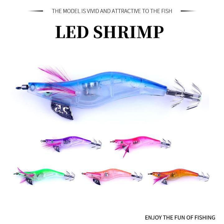 5pcs Squid Fishing Lure Squid Jig Hook 10.5cm 6g Luminous Prawn Lures Baits
