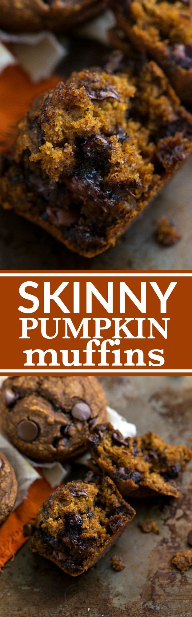 A low-calorie and healthier pumpkin chocolate-chip muffin with absolutely no butter, oil, or flour plus very little sugar. These gluten-free muffins are stuffed to the brim with flavor, they are healthy, and you will be shocked how great they taste while being so healthy! Recipe via chelseasmessyapron.com