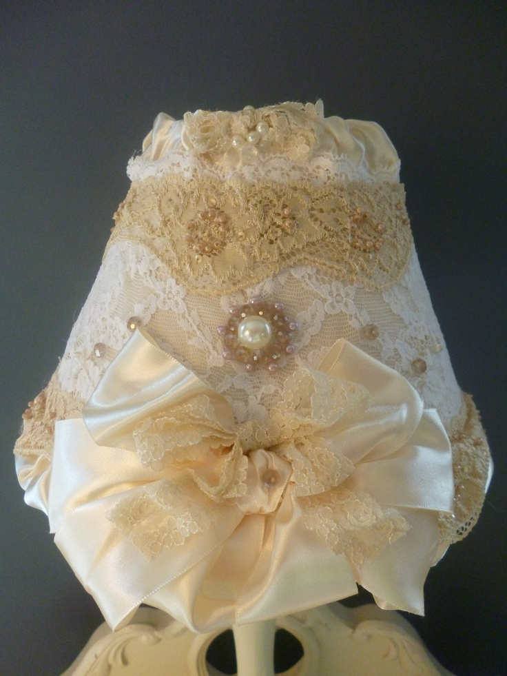 LAMPSHADE -Ivory Lace Lampshade-White Vintage & Shabby Chic Lace Bow Light- Victorian Pearls