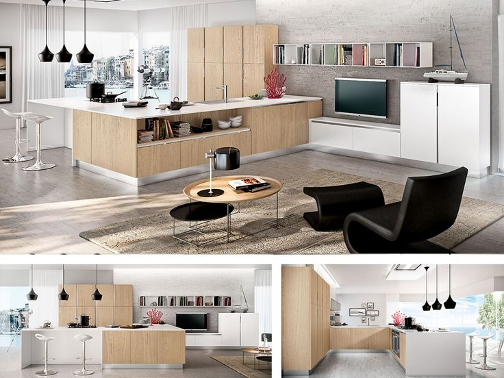 14 best images about cucina isola on pinterest | modern kitchens ... - Cucina Rovere Naturale