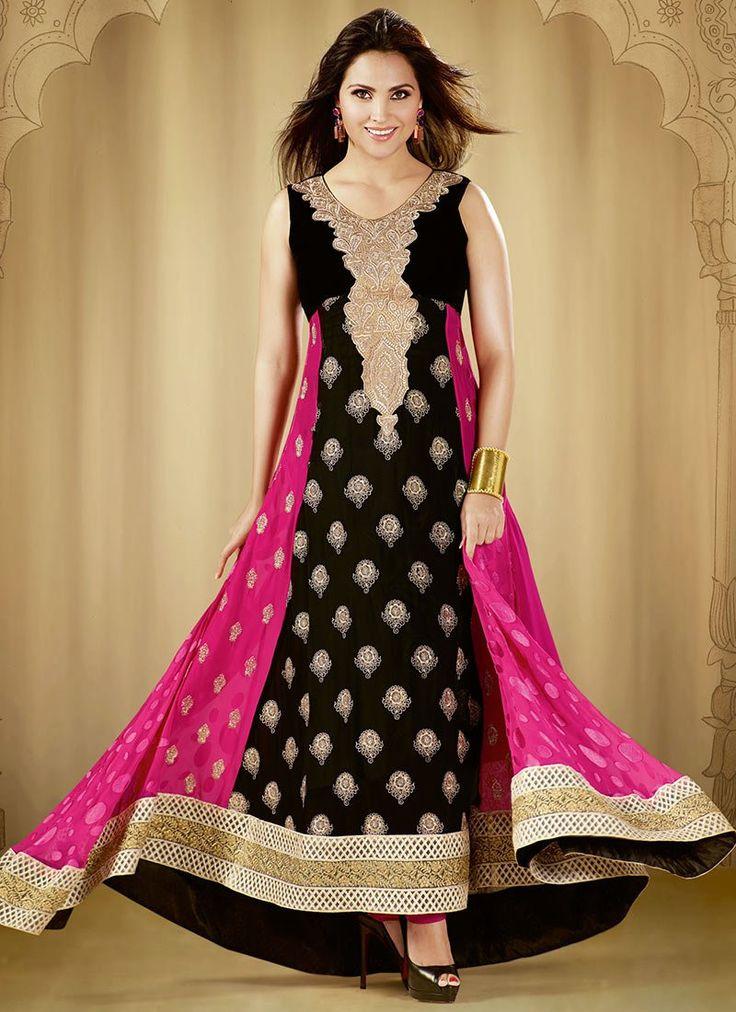 Black and Pink Anarkali Suit – Lashkaraa