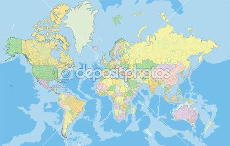 Political World map. — Stock Illustration #63375333
