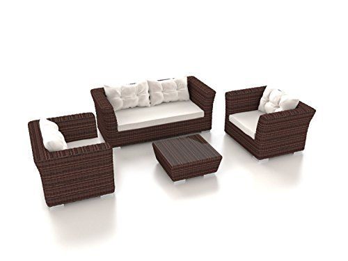 Round rattan woven around a powder-coated aluminium frame Cream cushion covers are water resistant and UK fire resistant Luxury rattan furniture set