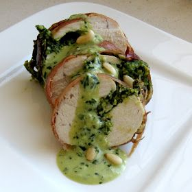 Pesto Stuffed Chicken Wrapped in Prosciutto With Pesto Cream Sauce Recipe by Dragon I went to my farmer's market on Saturday morning. I l...