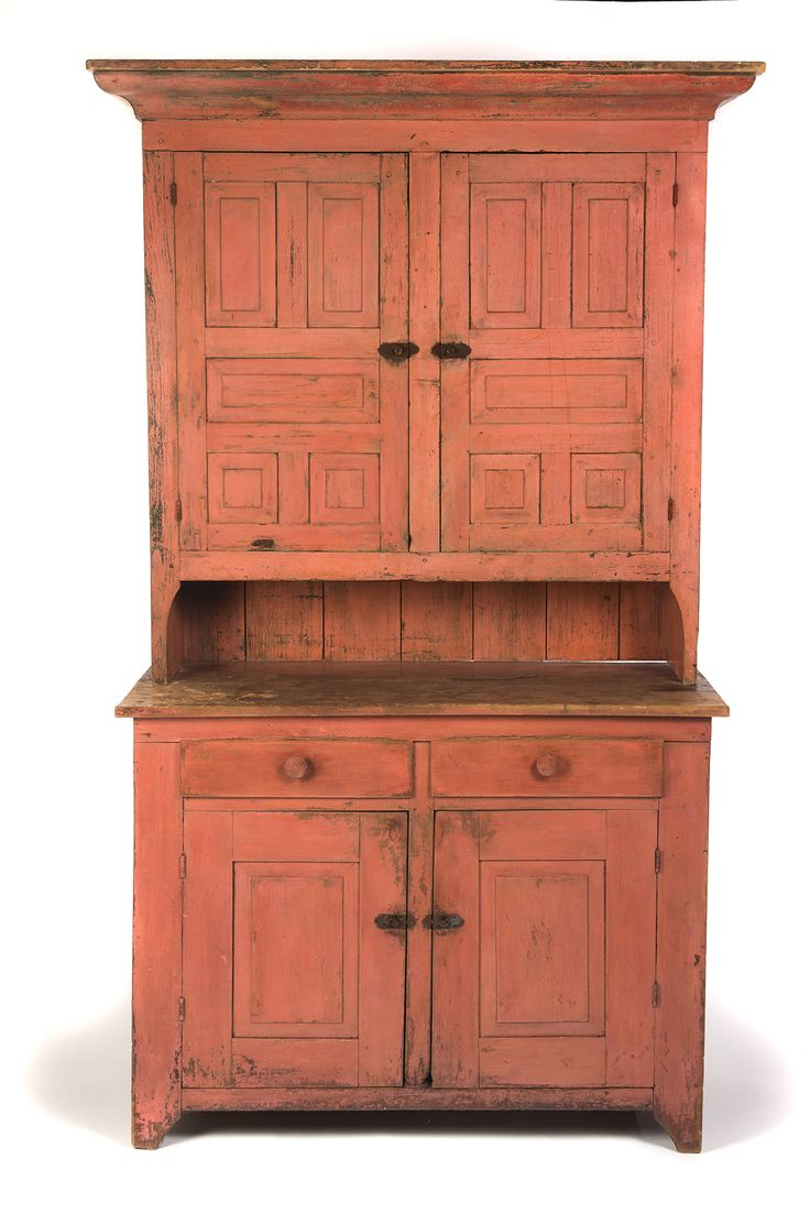 AMERICAN PAINTED STEPBACK CUPBOARD. Ca 1840-50, pine. Two-piece cupboard - 465 Best Primitive Cupboards Images On Pinterest Cupboards