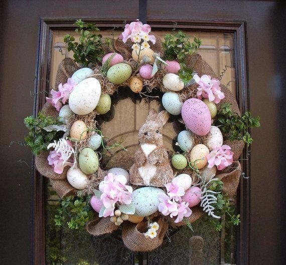 Easter Egg Wreath, Easter Bunny Wreath, Front Door Wreath Burlap, Easter Decor, Wreaths for the Door on Etsy, $115.00
