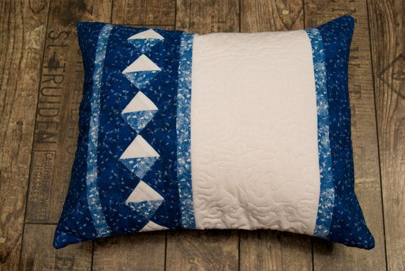 Blue cushion with quilted roses by Maggiepatchwork on Etsy