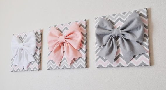 """SET OF THREE Wall Decor -Large Gray Pink and White Bows on Pink and Gray Chevron 12 x12"""" Canvases Wall Art- Baby Nursery Wall Decor- on Etsy, $93.00"""