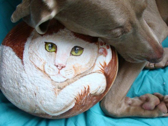 Very Large Hand Painted Cat rock by Naturetrail on Etsy, $125.00