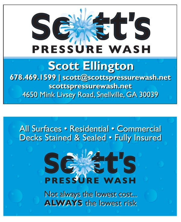 Business card redesign for a pressure washing company.