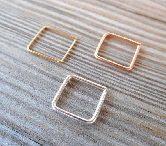 Septum Square RingNose Ring piercing by PavlosHandmadeStudio