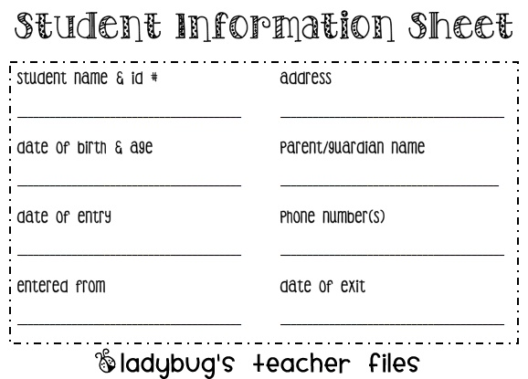 The 25+ best Student information sheets ideas on Pinterest ...