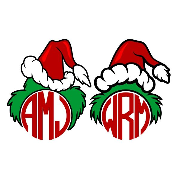 Grinch Hat Monogram Cuttable Frame Cut File. Vector, Clipart, Digital Scrapbooking Download, Available in JPEG, PDF, EPS, DXF and SVG. Works with Cricut, Design Space, Cuts A Lot, Make the Cut!, Inkscape, CorelDraw, Adobe Illustrator, Silhouette Cameo, Brother ScanNCut and other software.