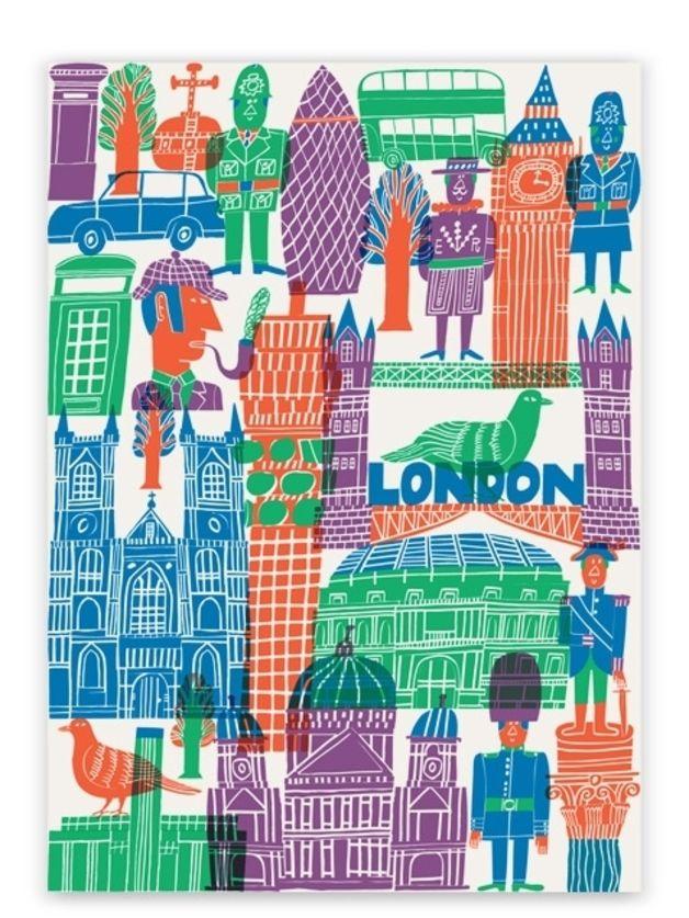 Bunte Illustration von London, Städteposter von Marcus Oakley / colourful London illustration, Great Britain poster drawn by Marcus Oakley by Human Empire Shop via DaWanda.com