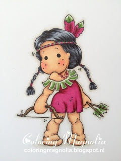 Coloring Magnolia Stamp 2013 Once Upon A Time Collection - Indian Tilda  Copics:    Haar: C9- C7-C5-C3  Huid: E25-E13-E11-E21-R22  Jurkje en hoofdband: RV69-RV66-RV19-RV17 -- YG67-YG63-YG61  Pijlen en boog: E49-E47-E44-E43 -- YG67-YG63-YG61  Achtergrond schaduw: W3-W1-W00