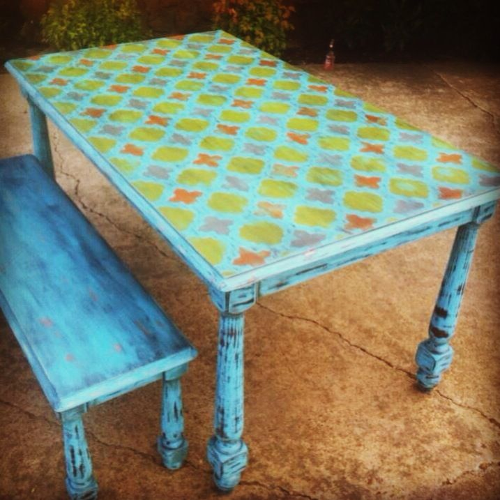 Stencil Kitchen table and bench painted and distressed  Stencil bought from  cuttingedgestencils com was19 best painted table tops images on Pinterest   Painted table  . Teal Painted Kitchen Table. Home Design Ideas