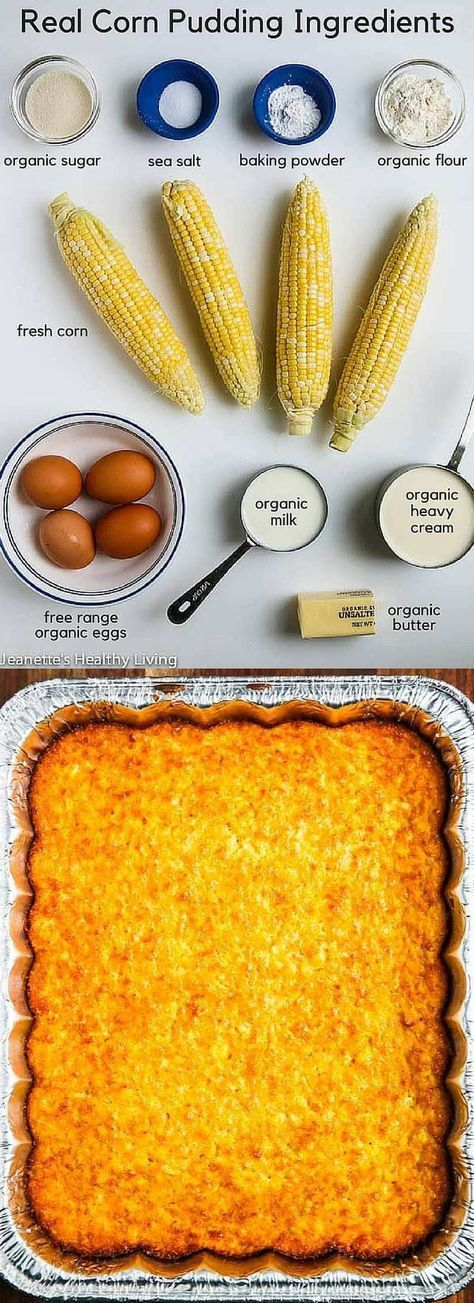 Real Corn Pudding - made with fresh corn and the finest ingredients, this summer side dish is perfect for barbecues and summer entertaining ~ http://jeanetteshealthyliving.com