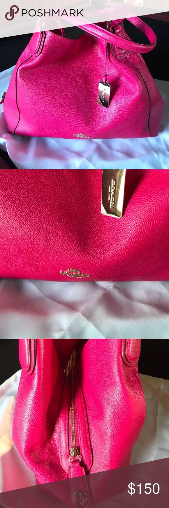 Coach handbag like new bright pink soft leather🌷 Coach handbag like new bright pink soft leather🌷 no marks tears looks new! Lotsa space! Comes w dust bag! Coach Bags