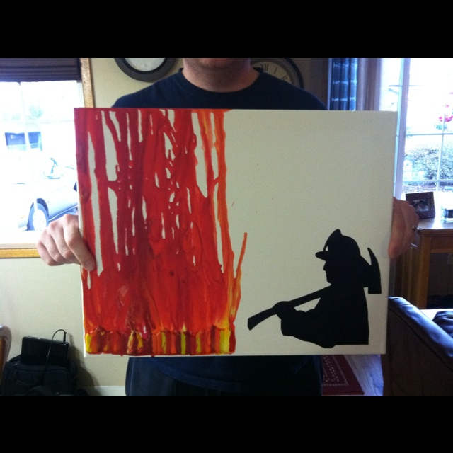 Melted crayon art for my son's firefighter bedroom.