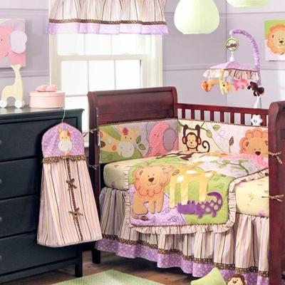 4pc pink green cute jungle safari animal baby girl crib. Black Bedroom Furniture Sets. Home Design Ideas