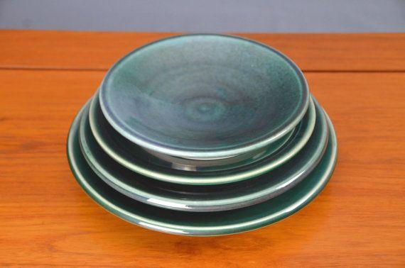 Green Ceramic Plate Set, Hand Thrown Porcelain Pottery, Dinner Plate, Ceramic Plate, Handmade   Caldwell Pottery
