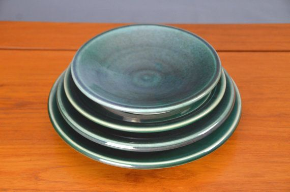 Green Ceramic Plate Set, Hand Thrown Porcelain Pottery, Dinner Plate, Ceramic Plate, Handmade | Caldwell Pottery