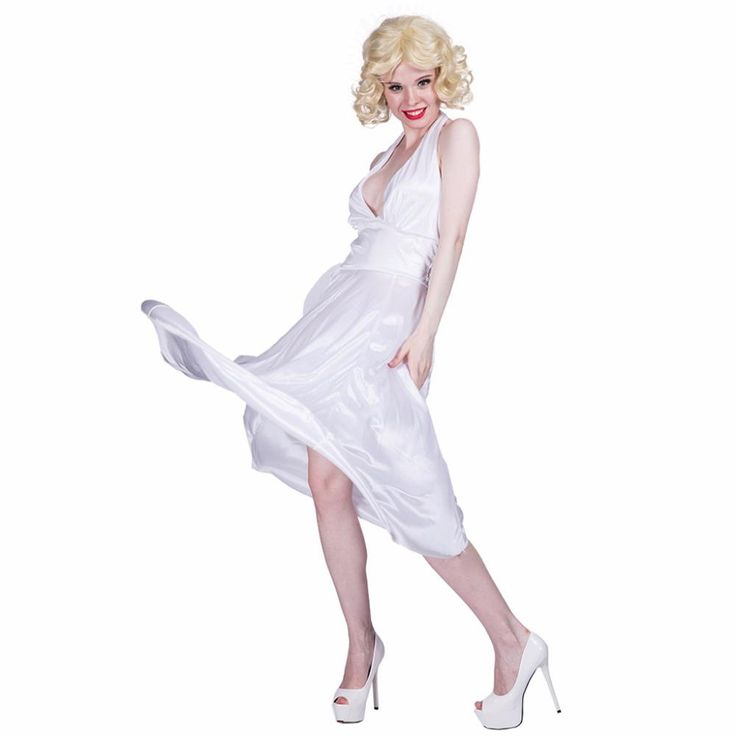 Women Sexy White Marilyn Monroe Costume Deluxe Halter Dress Cosplay Party Fancy Dress for Female Adult Girl Halloween Costumes