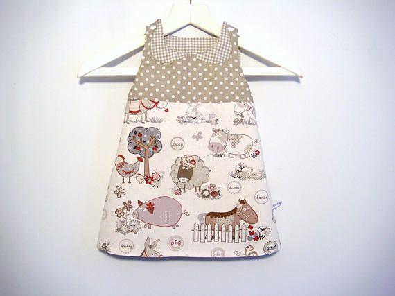 Handmade Reversible Baby Girl Dress 12-18 months Polka Dot