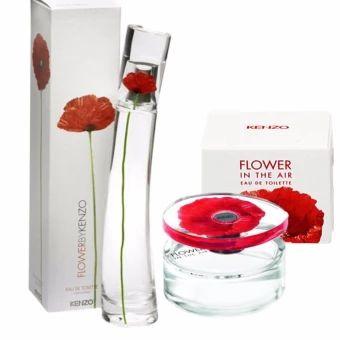 ซื้อเลย  Kenzo Flower น้ำหอมเคนโซ่ & Kenzo Flower in the Air Set 4 ml.(1 ชุด 2 แต่ละชุด)  ราคาเพียง  680 บาท  เท่านั้น คุณสมบัติ มีดังนี้ จับคู่ความหอมของมวลดอกไม้& ให้ความสดชื่นเป็น 2 เท่า กลิ่นหอมติดทนนาน ดึงเอาความหวานละมุนละไมจากมวลดอกไม้ แต่งเติมความหวานฉ่ำของ Raspberry ผสานด้วยความร้อนแรงซ่าบซ่าของ Pink Pepper หญิงสาวเริงร่าและกระตือรือร้น