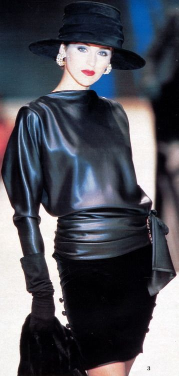 Exquisitely draped and wrapped faux leather top.  Faux leather fabric available at: http://www.mjtrends.com/categories-Matte-Vinyl,Fabric