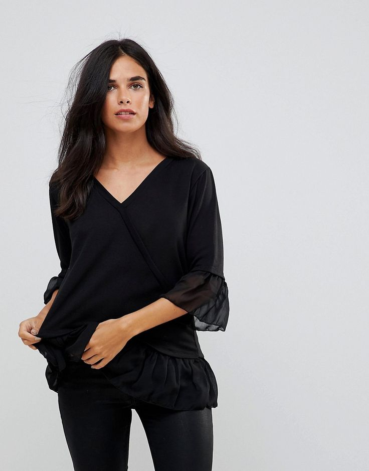 Get this Wal G's basic top now! Click for more details. Worldwide shipping. Wal G Knit Wrap Top with Sheer Ruffle Trim - Black: Top by Wal G, V-neck, Cross-over front, That's a wrap, Statement trims, You know the frill, Regular fit - true to size. (top básico, basic, basico, basica, básico, basicos, casual, clasica, clasicas, clásicas, clásica, básicas, básica, basic top, top básico, top basique, top basico, básicos)