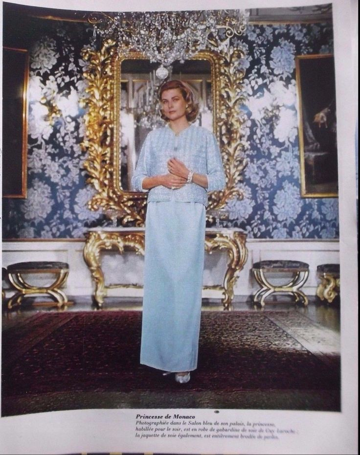 Photographed in the Salon Blue of the Princely Palace Princess Grace in formal attire….. a Guy LaRoche silk gown with a silk jacket encrusted with pearls. Thanks to eBay