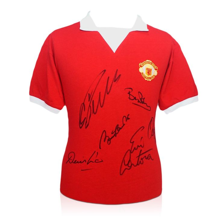Manchester United Shirt Signed By Cristiano Ronaldo, Bobby Charlton, Eric Cantona, Denis Law, Bryan Robson and Ryan Giggs. Limited edition of only 23 available at exclusivememorabilia.com.