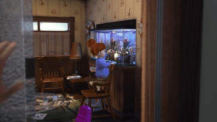 Darla, de Procurando Nemo, batendo no aquário do consultório do tio dentista (Foto: Reprodução)