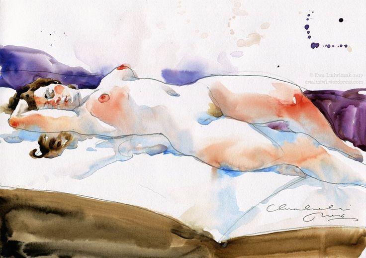 Zdjęcie użytkownika Ewa Ludwiczak.Reclining Figure Quick sketch in watercolour on Clairefontaine paper