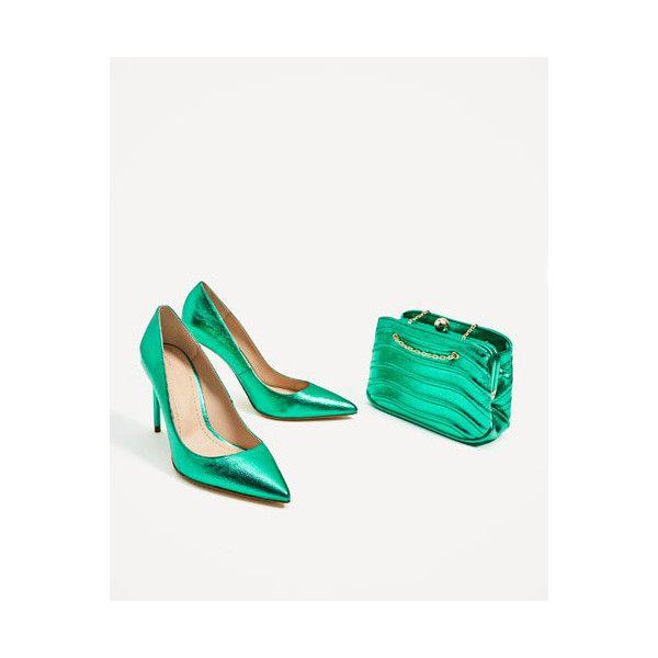 METALLIC GREEN COURT SHOES - High-Heels
