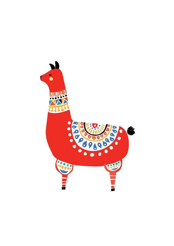 Llama Art Print, Animal Illustration, Drawing, Illustration, Children Room, Kids room art, Nursery room Art, home decor