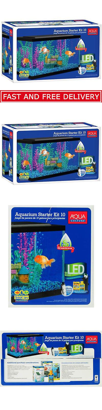 Aquariums and Tanks 20755: Aquarium Starter Kit 10 Gallon + Led Light And Filter Clear Glass Fish Tank Set -> BUY IT NOW ONLY: $44.98 on eBay!