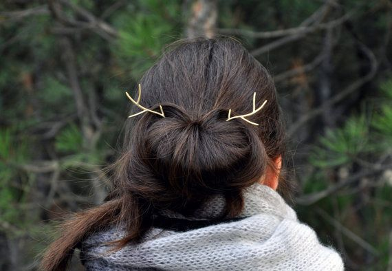Deer antler hair pin Deer antler jewelry by SpiceWildflowers