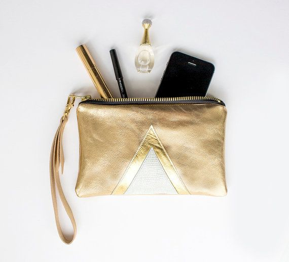 Gold Leder Clutch, Metallische Gold Brauttasche, Gold Leder Wristlet